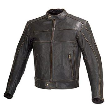 Men Motorcycle Armor Leather Jacket Vintage Style by Xtreemgear Black MBJ024 (3XL)