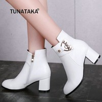 Women Thick High Heel Ankle Boots Fashion Pointed Toe Winter Casual Shoes Woman White Black Beige
