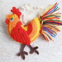 Crochet Fire Rooster Easter Ornament Home Decor, Crochet Amigurumi Bird, Symbol of 2017