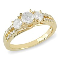 1 Carat Diamond 3-Stone Ring in 10K Yellow Gold