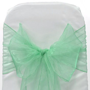 Organza Chair Bow Sash, 9-inch, 10-feet, 6-piece, Mint Green