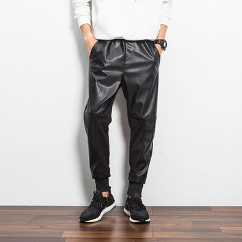 Hip Hop Mens pu Leather Harem Pants Black Motorcycle Sweatpants Street Dance Rock Slacks Trousers faux leather Joggers 102303