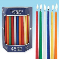 Deluxe Tapered Assorted Solid Colors Hanukkah Candles