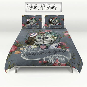"Skull Bedding, Sugar Skulls  Duvet Cover Comforter Set, Gray Rose Floral  ""Always Kiss Me Goodnight"" Day  Of The Dead Decor"