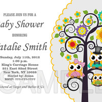 Neutral Baby Shower Invitation Girl Boy Owl Baby Shower Invitation Yellow Baby Shower Invitation Yellow - FREE Thank You card (123a1)