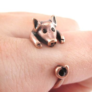 3D Pig Piglet Animal Wrap Around Ring in Copper | US Sizes 4 to 8.5