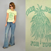"Vtg 70s DEADSTOCK ""This Bud's For You!"" stoner weed MARIJUANA colorado novelty T-SHIRT, extra small-small"