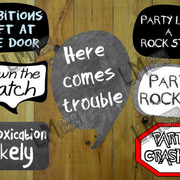 Party Photo Booth Props Pack 2 - 7 signs - Add some Comedy to your next event! INSTANT DOWNLOAD DIY Printable