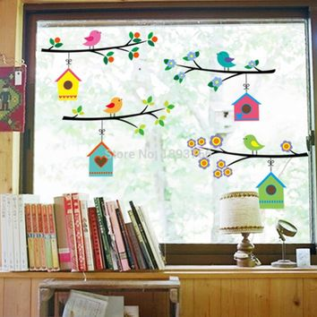 Kids Vintage Parlor Window Branch Bird Cage Wall Stickers
