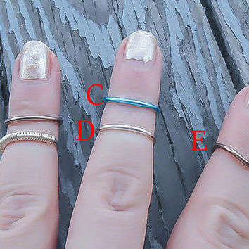 Midi Ring- Stackable Midi Rings - Midi Ring Set - Mid Finger Ring - Knuckle Midi Rings - Above Knuckle Ring - Adjustable Midi Ring