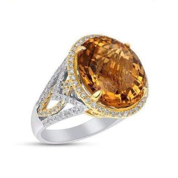 Luxinelle Huge 2 Tone Gold Citrine and Diamond Statement Ring - 14K 15.54TCW by Luxinelle®Jewelry