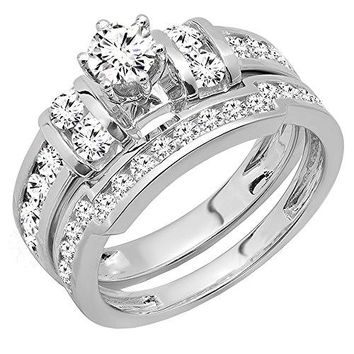 1.80 Carat (ctw) 14K White Gold Round Diamond Bridal Engagement Ring Wedding Band Set (Size 5)