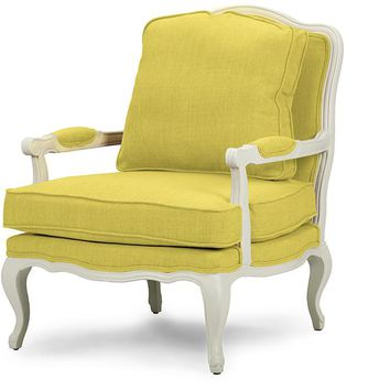 Baxton Studio Antoinette Classic Antiqued Yellow Fabric French Accent Chair Set of 1