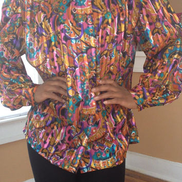 Vintage 80s 90s Bright Wild Multi Colored Dressy Blouse Shirt Collections by Josephine sz 10