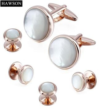 Luxury Stone Cufflinks Stud Set Mens Tuxedo Shirt Button Rose Gold Cuff Links Accessory with Box
