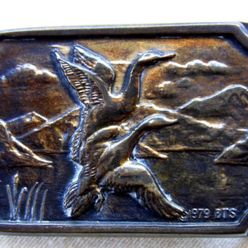 Vintage Solid Brass Ducks in Flight Belt Buckle for the Outdoorsman