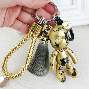 Fashion New Brand Leather Tassel Gloomy Bear Keychain Keyring For Women Bag Car Key Chain Trinket Jewelry Gift Souvenirs Llavero