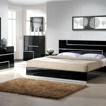 Best Master BARCELONA 4 pc black lacquer finish wood modern style queen bed set with inlay