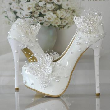 2016-new-butterfly-pearl-wedding-shoes-bridal-shoes-lace-pump-shoes number 1