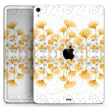 "Karamfila Yellow & Gray Floral V2 - Full Body Skin Decal for the Apple iPad Pro 12.9"", 11"", 10.5"", 9.7"", Air or Mini (All Models Available)"