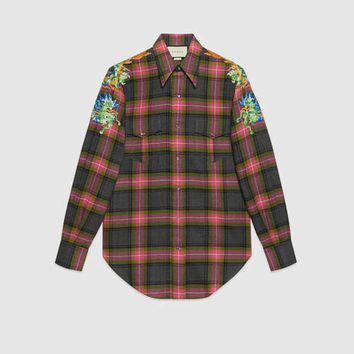 Gucci Embroidered check wool shirt