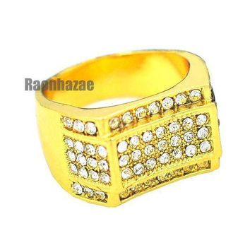 Mens Hip Hop Rapper Chunky Micro Pave 14k Gold Plated Ring Size 7   12 N011g