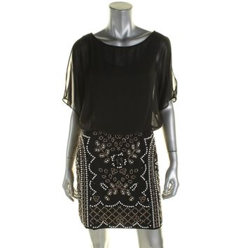 Xscape Womens Beaded Cold Shoulder Cocktail Dress