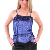 Blue Velvet Belted Spaghetti Strap Top - Diva Hot Couture