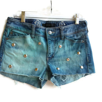Studded Denim Jean Shorts Sea Foam Green Dyed Hipster Boho