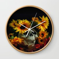 Skull and Flowers Wall Clock by Scott Hervieux