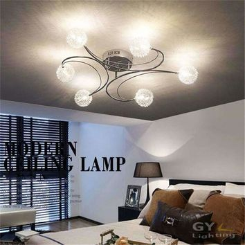 2017 New Aluminum wire LED ceiling chandelier lighting glass or K9 crystal lampshade lustres kitchen lumiere avize led lamp