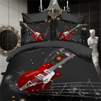 3D Fashion Music notes bedding set black red guitar quilt duvet cover full queen size double bedspread sheets bed pillowcase