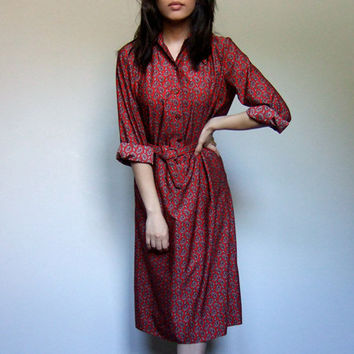 Red Shirt Dress Collared Button Up Vintage 70s by MidnightFlight