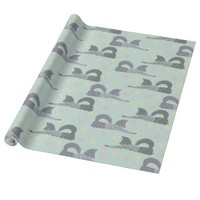 Cute Winter Foxes and Colorful Pastel Snowflakes Wrapping Paper