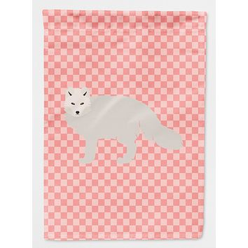 White Arctic Fox Pink Check Flag Canvas House Size BB7877CHF