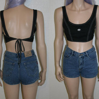 90s surf style halter top crop cropped shirt soft grunge / Hipster / Goth / Gothic / punk / boho / festival M L