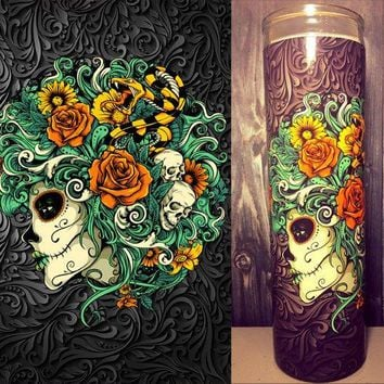 Skull Decor, Flower Decor, Day of The Dead,Dia de los Muertos, Sugar Skull, Scented Candle,  Gifts for Her, Best Scented Candle