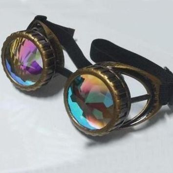 Vintage Steampunk Goggle Glasses kaleidoscope lenses Party Sunglasses  Retro Victorian Gothic Cosplay Rivet Steam Punk Eyewear
