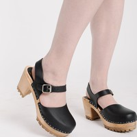 'Abba' Clog in Black Italian Leather