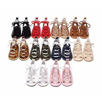 Summer infant baby girls Gladiator sandals Pu leather sandals child Rubber sole Lace-up Flat Heels Prewalkers shoes 10 colors