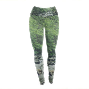 "Suzanne Harford ""Misty Forest Stream"" Nature Photography Yoga Leggings"