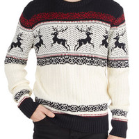 ModCloth Mid-length Long Sleeve Dashing Deer Sweater