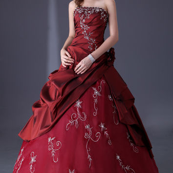 Burgundy Beaded Ruffled Ruched Off-Shoulder Quinceanera Ball Gown