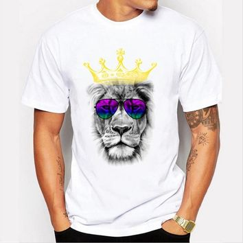 Summer new men 's fashion T - shirt personality lion printed pattern leisure white T - shirt