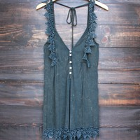 vintage acid wash romper - navy