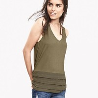 Banana Republic Womens Mixed Media Cutout Tank