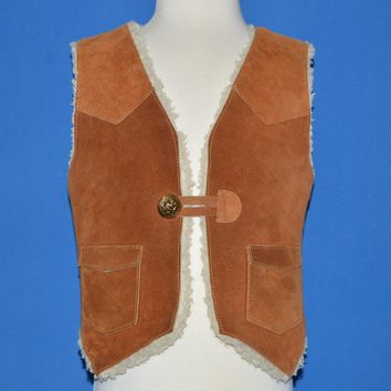 70s Sears Sherpa-Lined Suede Vest Toddler 3T
