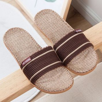 Fashion Flax-slippers antiskid and breathable home slippers-1