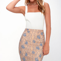 Commendable Class Blue and Nude Lace Pencil Skirt