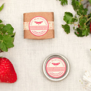 Strawberry Lip Balm, All Natural - Sweet Strawberry Honeysuckle - Summer Strawberries and Crisp Florals